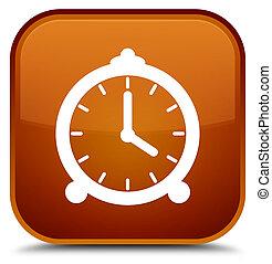 Alarm clock icon special brown square button