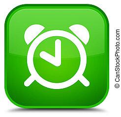 Alarm clock icon special green square button