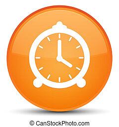 Alarm clock icon special orange round button