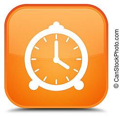 Alarm clock icon special orange square button