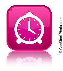 Alarm clock icon special pink square button