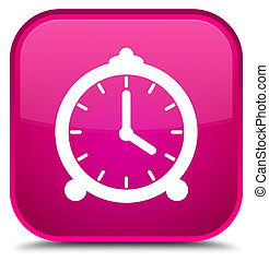 Alarm clock icon special pink square button