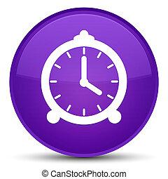 Alarm clock icon special purple round button