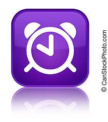 Alarm clock icon special purple square button