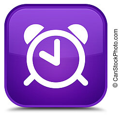 Alarm clock icon special purple square button