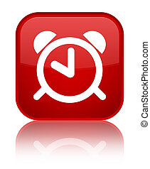 Alarm clock icon special red square button