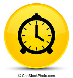 Alarm clock icon special yellow round button