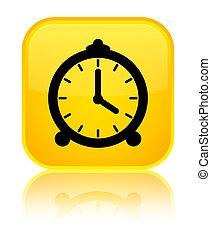 Alarm clock icon special yellow square button