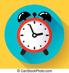 alarm clock icon vector flat