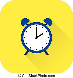 Alarm clock icon. Vector. Flat design with long shadow.