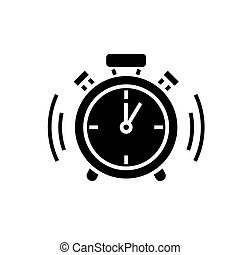 alarm clock icon, vector illustration, black sign on isolated background