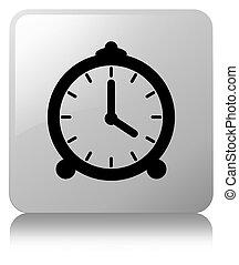 Alarm clock icon white square button