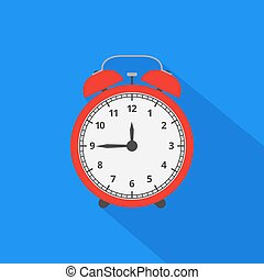 Alarm clock icon with long shadow. Flat design style. Vector ill