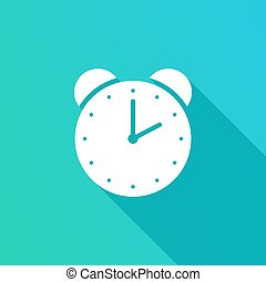 Alarm clock icon with long shadow, on blue background. Vector Illustration. Alarm clock in flat design