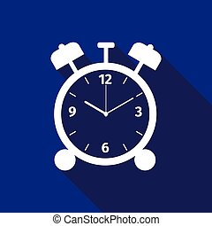 Alarm clock icon with long shadow.