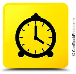 Alarm clock icon yellow square button