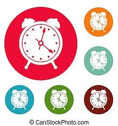 Alarm clock icons circle set