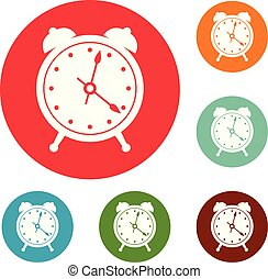 Alarm clock icons circle set vector