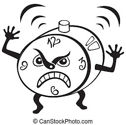 Alarm clock - Illustration of mad alarm clock wakening at...