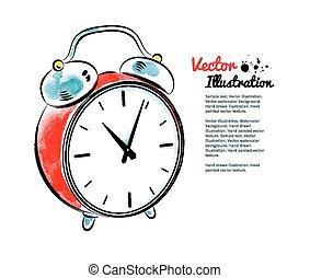 Alarm clock. Watercolor and line art. Vector illustration....
