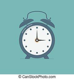 Alarm clock in a flat design. Vector illustration