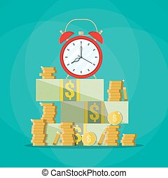 Alarm clock in a pile of stacked bills and coin