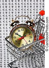alarm clock in a shopping basket