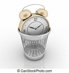 alarm clock in metal trash bin isolated on white. Concept of...