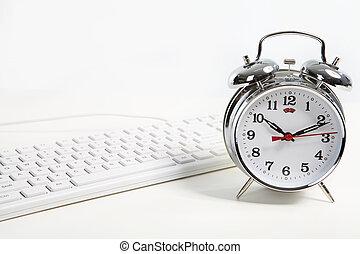 Alarm-clock in the office - Alarm-clock, keyboard, business ...