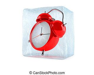 Alarm clock inside ice cube