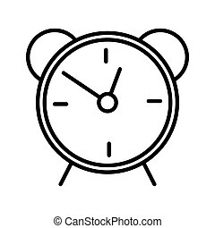 Alarm clock line icon isolated on white background. Wake up, get up concept. Time sign. Flat design. Vector Illustration