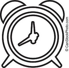 Alarm clock linear icon in a flat design in black color. Vector illustration eps10