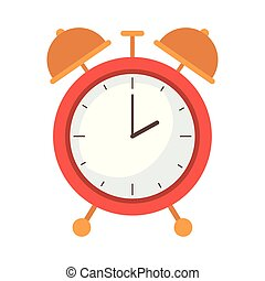 alarm clock of color red isolated icon