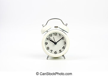 Alarm clock on a white background.