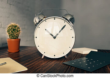 Alarm clock on desk - Glossy alarm clock on wooden desk with...