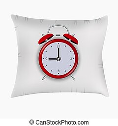 Alarm Clock on Pillow. Good Night Concept. Vector Illustration