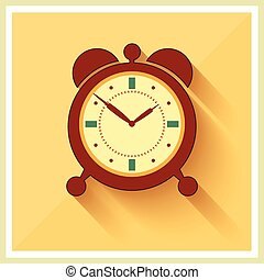 Alarm Clock on Retro Background Vector