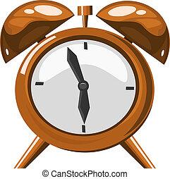 Alarm clock on the white background