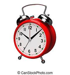 Alarm clock on white background. 3D rendering