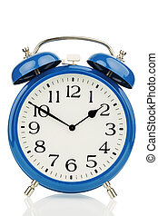 alarm clock on white background - a blue alarm clock on a ...
