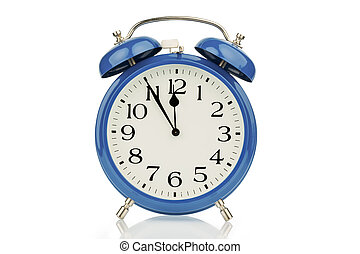 alarm clock on white background - a blue alarm clock on a...