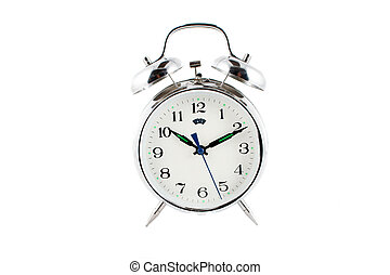 alarm clock - small alarm clock isolated on a white...