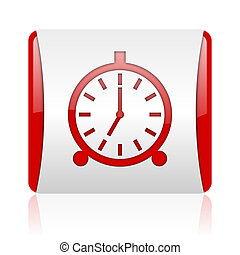 alarm clock red and white square web glossy icon