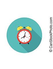 Alarm clock red icon with shadow isolated on white background in flat style.