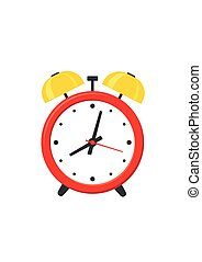 Alarm clock red isolated on white background in flat style. Vector illustration