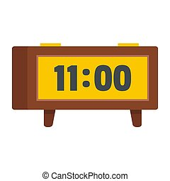 Alarm clock retro icon, flat style