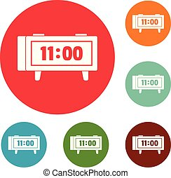 Alarm clock retro icons circle set vector