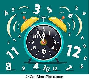 Alarm Clock Ringing . Vector Time Symbol.
