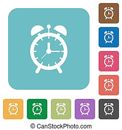Alarm clock rounded square flat icons