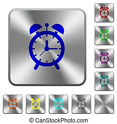Alarm clock rounded square steel buttons